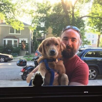Dave with Cooper Outside WIndow